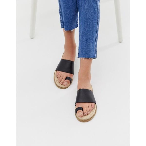 エイソス レディース サンダル シューズ ASOS DESIGN Jega toe post espadrille sandals Black