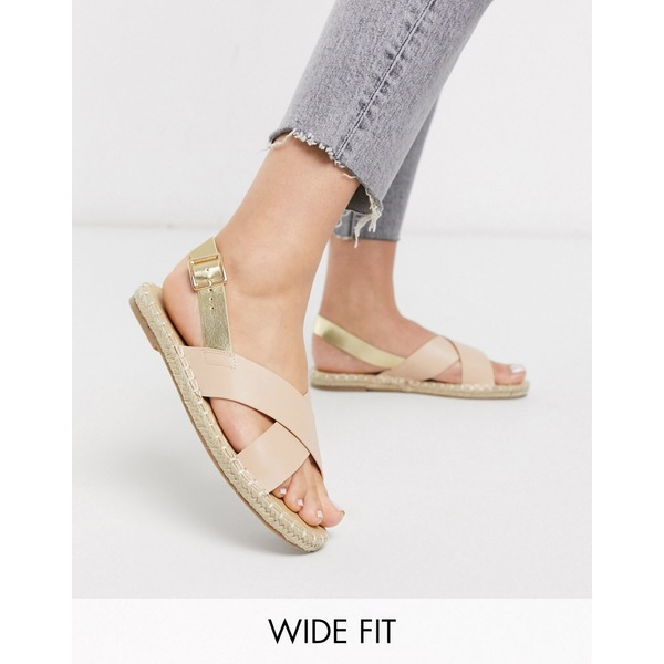 トゥラッフル レディース サンダル シューズ Truffle Collection square toe cross strap espadrille sandal Beige/metallic