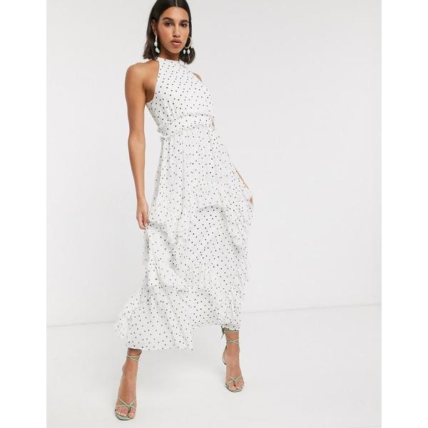 エイソス レディース ワンピース トップス ASOS DESIGN Premium high neck ruffle maxi dress in spot White/black spot