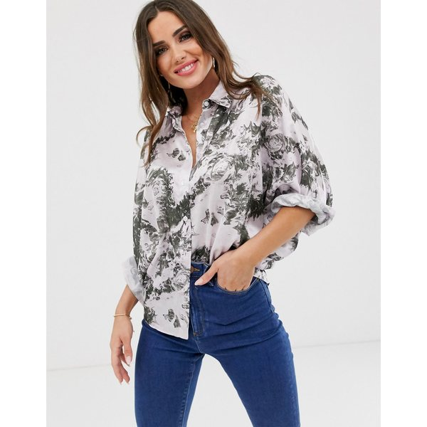 エイソス レディース シャツ トップス ASOS DESIGN batwing sleeve satin shirt in marble print Multi