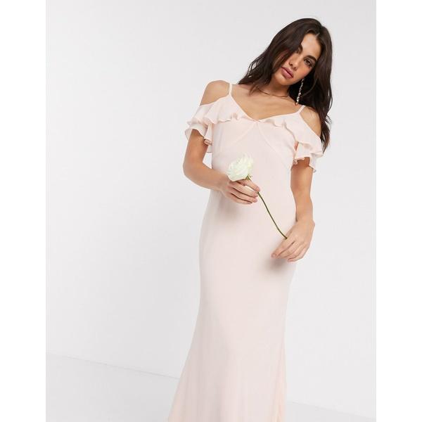 ウエアハウス レディース ワンピース トップス Warehouse bridesmaids cold shoulder frill maxi dress with button back in blush pink Blush