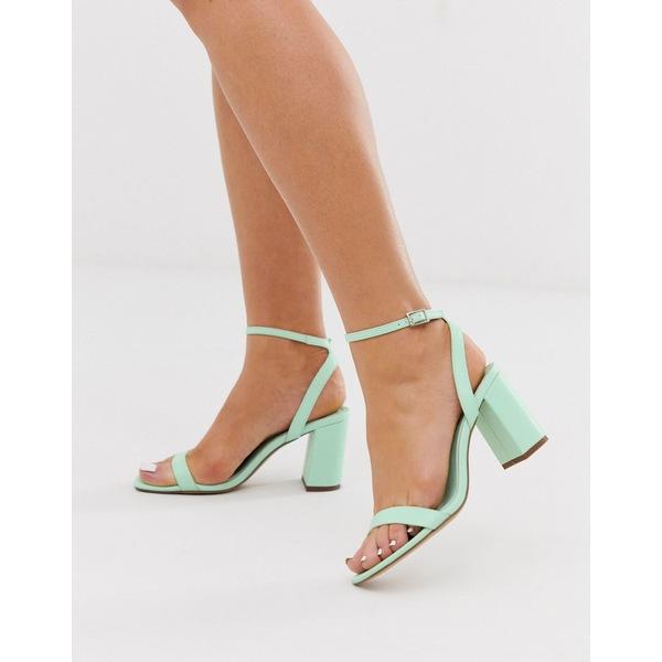 エイソス レディース サンダル シューズ ASOS DESIGN Hong Kong barely there block heeled sandals in mint Mint green