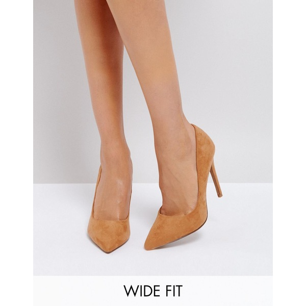 エイソス レディース ヒール シューズ ASOS DESIGN Wide Fit Paris pointed high heeled pumps in caramel Caramel