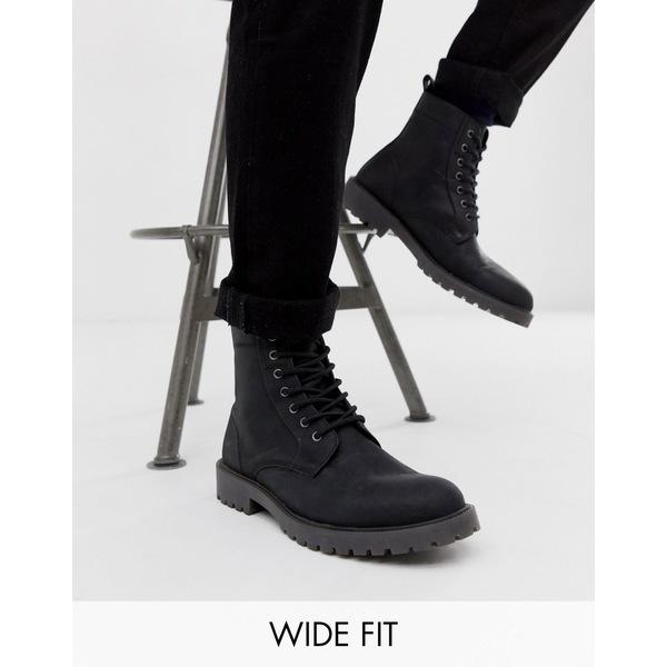 エイソス メンズ ブーツ&レインブーツ シューズ ASOS DESIGN Wide Fit lace up boots in black leather with chunky sole Black