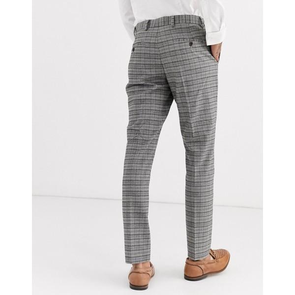 リバーアイランド メンズ カジュアルパンツ ボトムス River Island skinny suit pants in gray check Gray