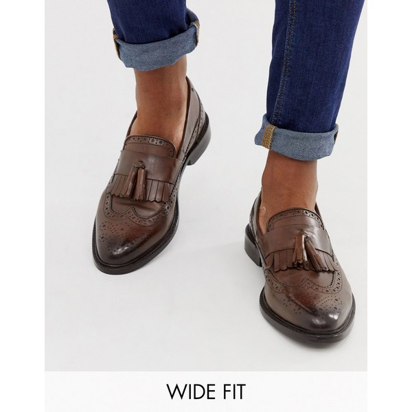 エイソス メンズ スリッポン・ローファー シューズ ASOS DESIGN Wide Fit loafers in brown leather with natural sole and fringe detail Brown