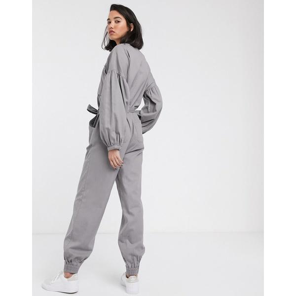エイソス レディース ワンピース トップス ASOS DESIGN zip front boiler jumpsuit with slouchy puff sleeve Gray