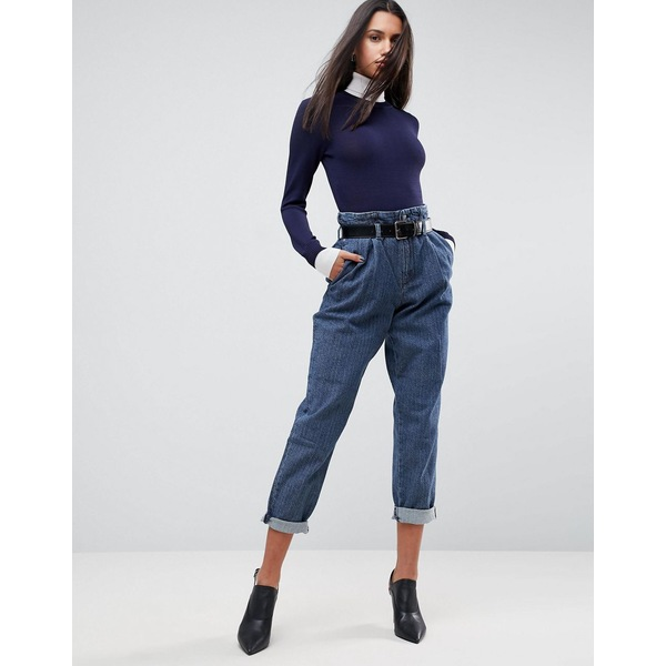 エイソス レディース デニムパンツ ボトムス ASOS Tapered Pants with Belt In Herringbone Denim Dark wash blue