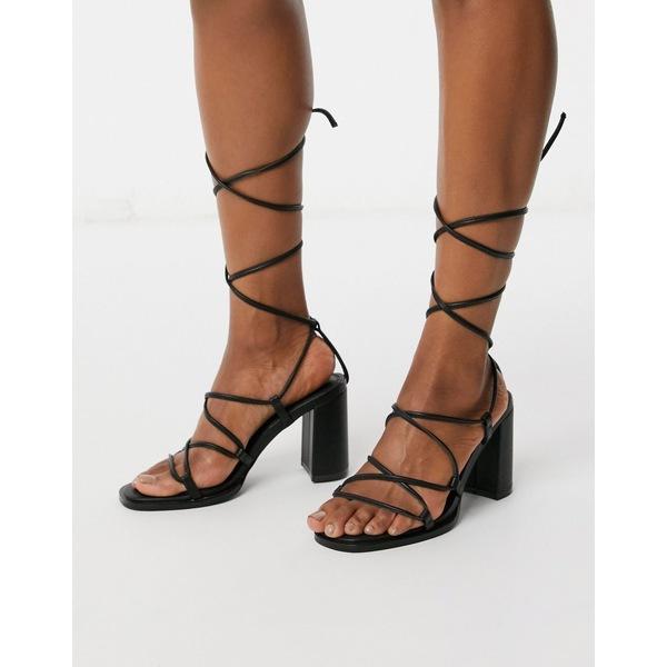 【メーカー直売】 エイソス レディース サンダル シューズ ASOS DESIGN Hero mid-heeled sandals in black Black, MEGAFISH札幌本店 c412ae04