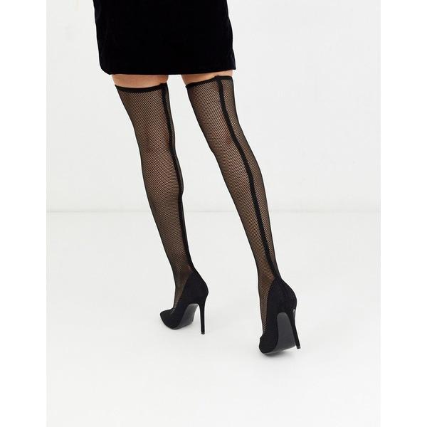エイソス レディース ブーツ&レインブーツ シューズ ASOS DESIGN Kristen mesh thigh high boots in black Black