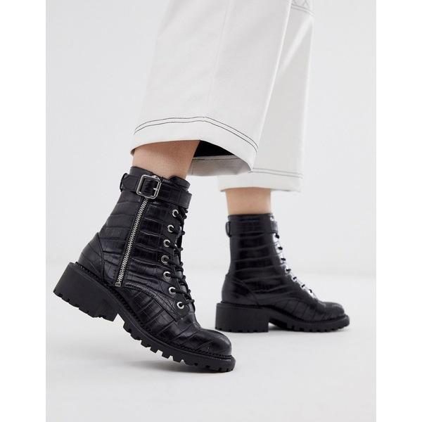 エイソス レディース ブーツ&レインブーツ シューズ ASOS DESIGN Anya hardware lace up ankle boots in black croc Black croc