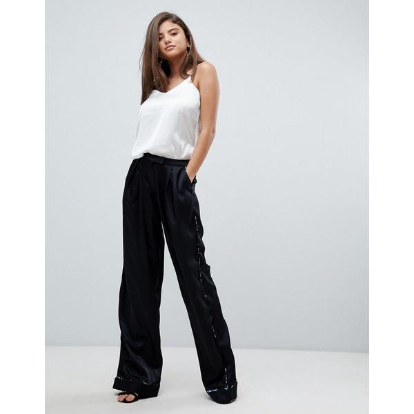 スタイルストーカー レディース カジュアルパンツ ボトムス Stylestalker Avalon Wide Leg Pants with Floral Print Piping Noir