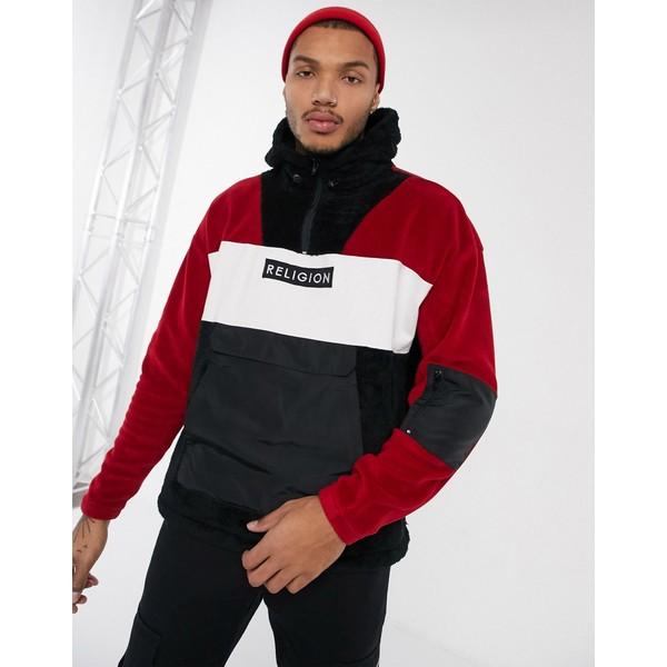 レリジョン メンズ ジャケット&ブルゾン アウター Religion half zip borg jacket with nylon details in red Red/black/white