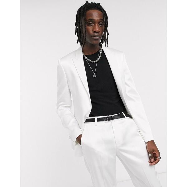 エイソス メンズ ジャケット&ブルゾン アウター ASOS DESIGN skinny tuxedo suit jacket in white with high shine panels White
