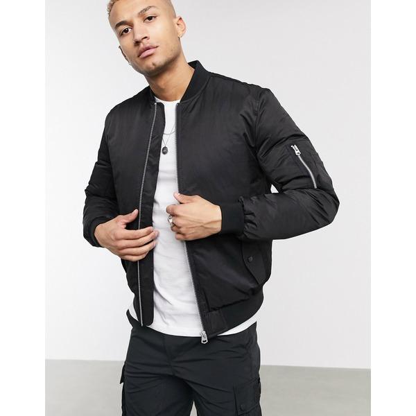 エイソス メンズ ジャケット&ブルゾン アウター ASOS DESIGN quilted bomber jacket with MA1 pocket in black Black