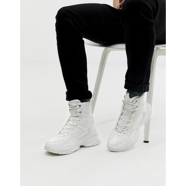 エイソス メンズ スニーカー シューズ ASOS DESIGN high top sneakers in white mesh with chunky sole White
