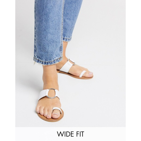 エイソス レディース サンダル シューズ ASOS DESIGN Wide Fit Feline leather toe loop sandal in white White