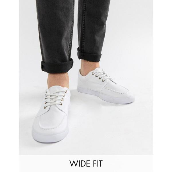 エイソス メンズ スニーカー シューズ ASOS DESIGN Wide Fit lace up plimsolls in white canvas White