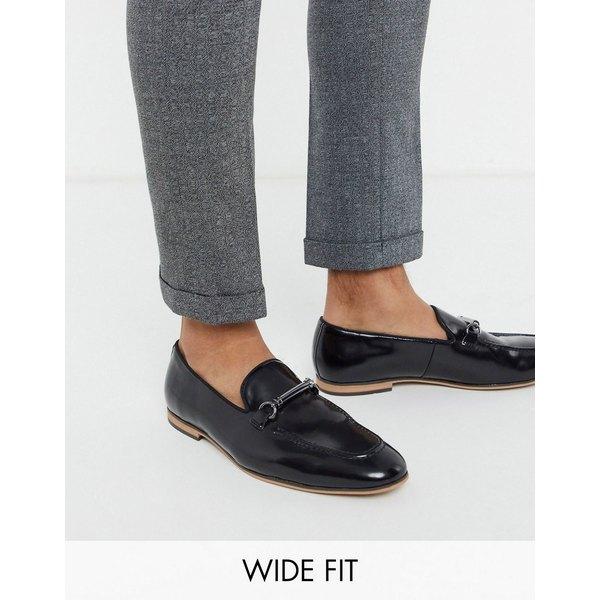 エイソス メンズ スリッポン・ローファー シューズ ASOS DESIGN Wide Fit loafers in black faux leather with snaffle Black