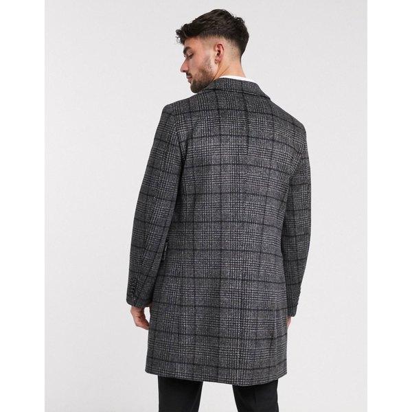ハリー・ブラウン メンズ コート アウター Harry Brown 100% wool gray check coat Gray check