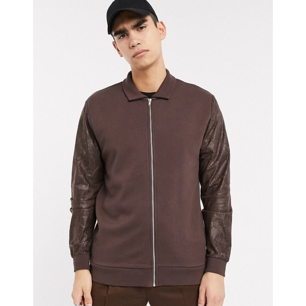 エイソス メンズ ジャケット&ブルゾン アウター ASOS DESIGN jersey harrington jacket in brown with faux snakeskin sleeves Seal brown
