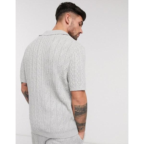 エイソス メンズ Tシャツ トップス ASOS DESIGN knitted two-piece cable knit polo t-shirt in gray Gray
