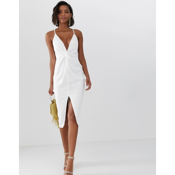 エイソス レディース ワンピース トップス ASOS DESIGN midi strappy cami dress with knot front plunge in satin Ivory