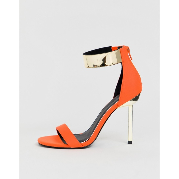 エイソス レディース ヒール シューズ ASOS DESIGN Hydroid barely there heeled sandals in neon orange Orange