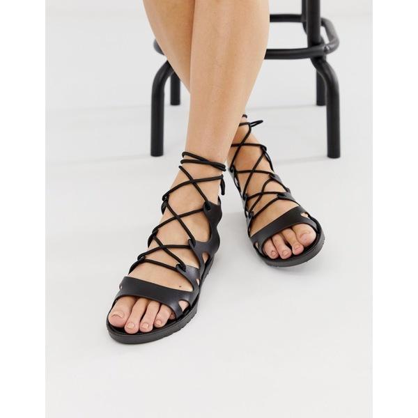 エイソス レディース サンダル シューズ ASOS DESIGN Felicity jelly tie leg flat sandals Black