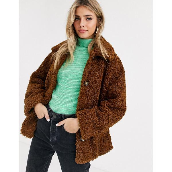 エイソス レディース コート アウター ASOS DESIGN teddy button through coat Brown