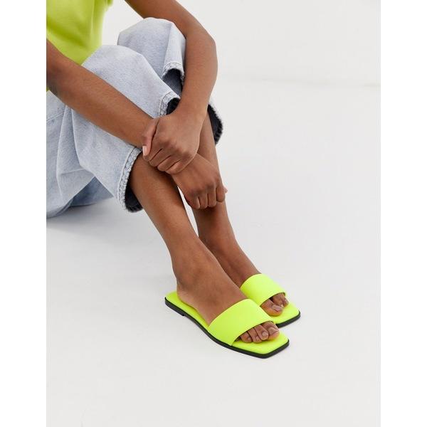 エイソス レディース サンダル シューズ ASOS DESIGN Fleeky mule sliders in neon yellow Neon yellow