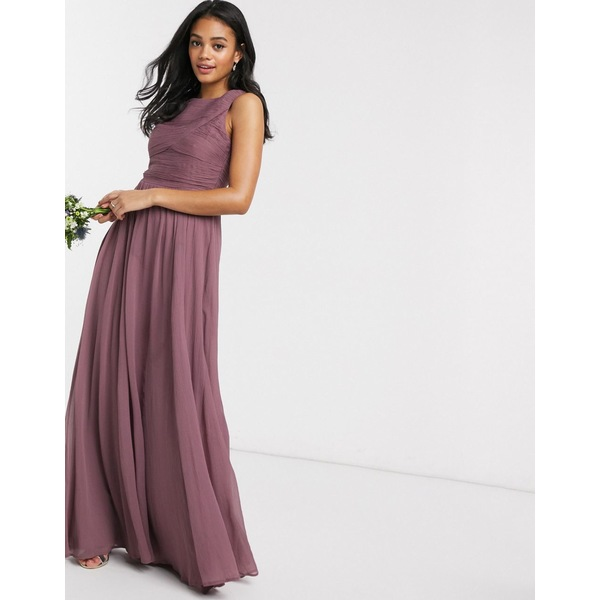 エイソス レディース ワンピース トップス ASOS DESIGN Bridesmaid maxi dress with soft pleated bodice Mauve