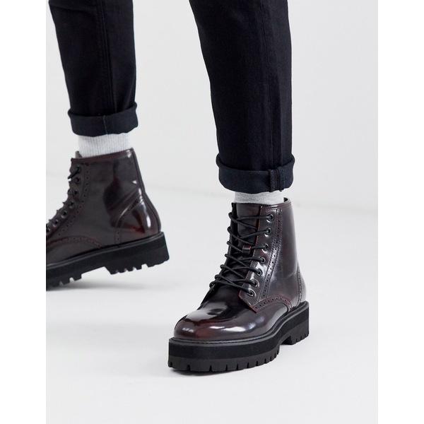 エイソス メンズ ブーツ&レインブーツ シューズ ASOS DESIGN lace up brogue boots in burgundy faux leather with raised chunky black sole Red