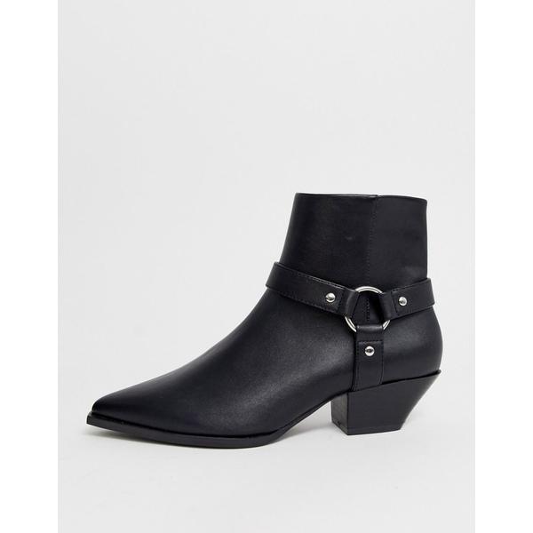 エイソス レディース ブーツ&レインブーツ シューズ ASOS DESIGN Aidan harness western ankle boots in black Black