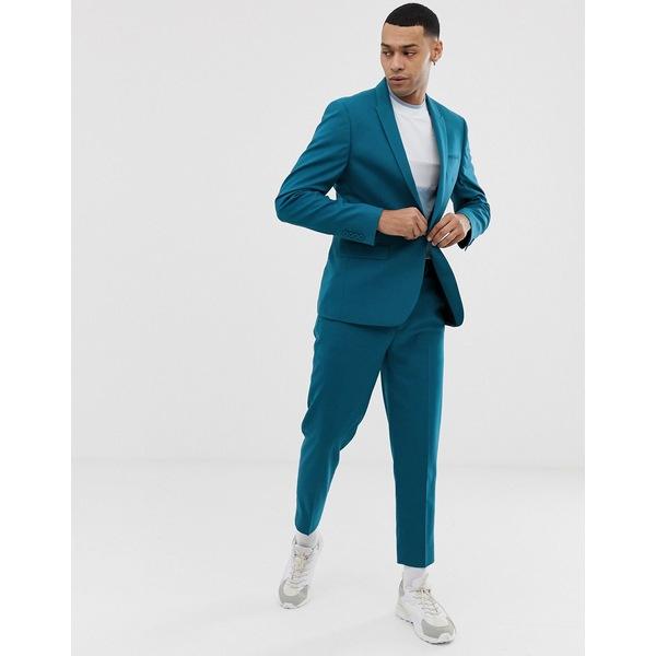 エイソス メンズ ジャケット&ブルゾン アウター ASOS DESIGN skinny suit jacket in teal Blue