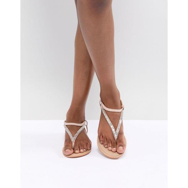 エイソス レディース サンダル シューズ ASOS DESIGN Fixing Leather Embellished Flat Sandals Pale pink