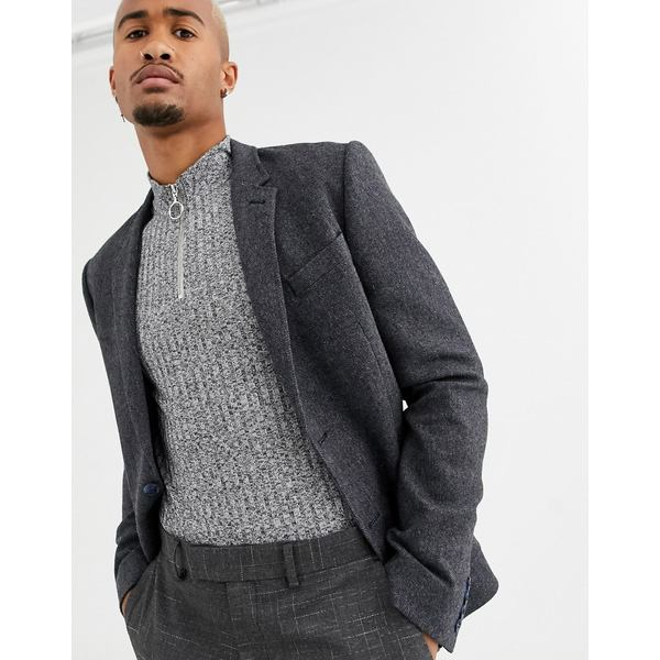 エイソス メンズ ジャケット&ブルゾン アウター ASOS DESIGN skinny blazer in slate blue wool mix Slate blue