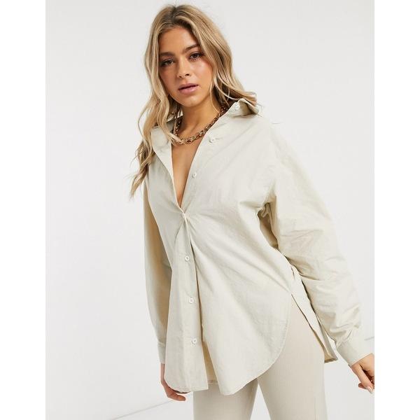 ミスガイデッド レディース シャツ トップス Missguided nylon shirt in beige Beige