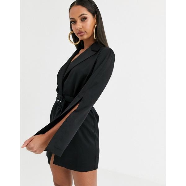 エイソス レディース ワンピース トップス ASOS DESIGN split sleeve wrap waist longline blazer Black
