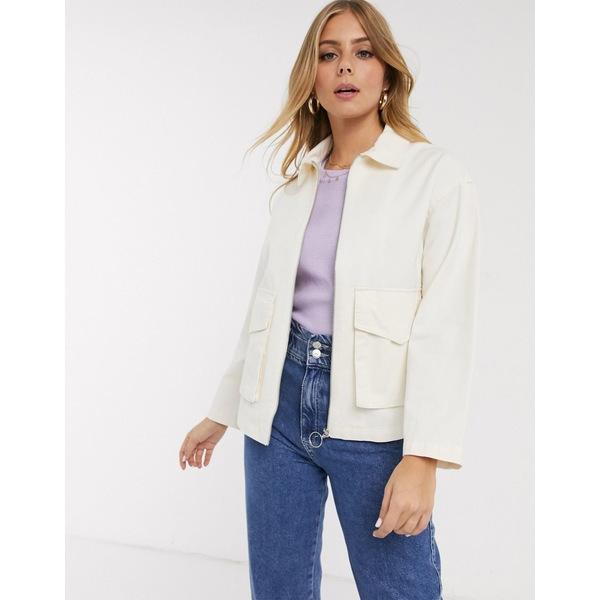 エイソス レディース ジャケット&ブルゾン アウター ASOS DESIGN cotton pocket jacket in cream Cream