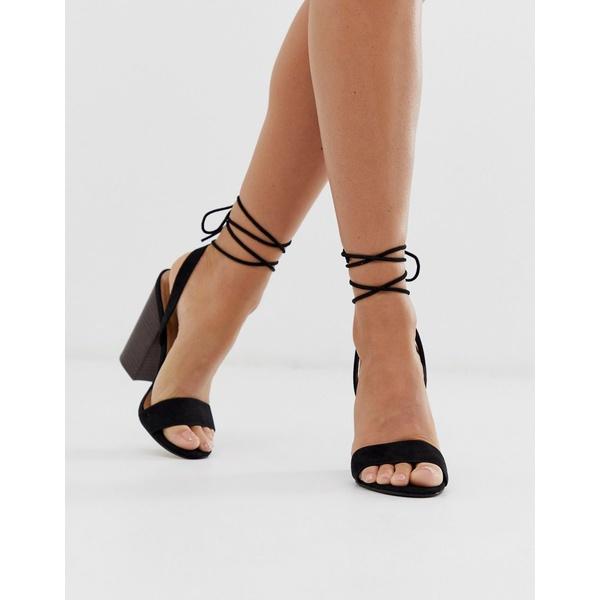 エイソス レディース ヒール シューズ ASOS DESIGN Nettle barely there block heeled sandals in black Black