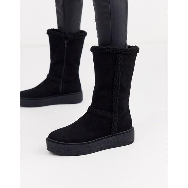 エイソス レディース ブーツ&レインブーツ シューズ ASOS DESIGN Aquarius faux fur flat boots in black Black