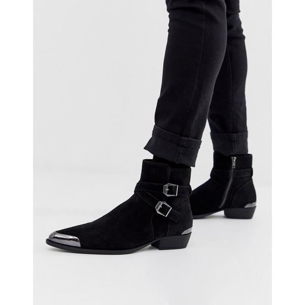 エイソス メンズ ブーツ&レインブーツ シューズ ASOS DESIGN stacked heel western chelsea boots in faux black suede with buckle detail Black
