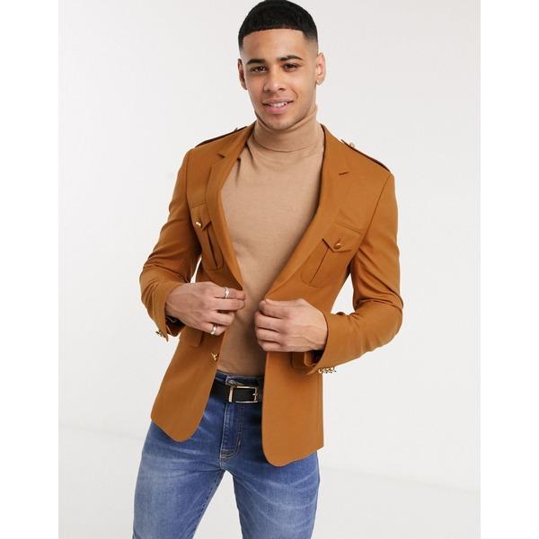エイソス メンズ ジャケット&ブルゾン アウター ASOS DESIGN skinny blazer with pocket details in rust Red
