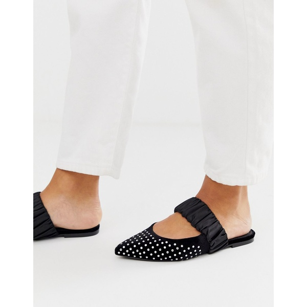 エイソス レディース サンダル シューズ ASOS DESIGN Lately embellished pointed mules in black Black mix