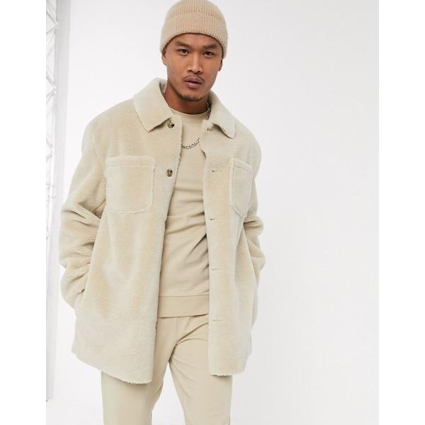 エイソス メンズ ジャケット&ブルゾン アウター ASOS DESIGN teddy jacket in ecru Ecru