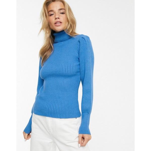 ムーンリバー レディース ニット&セーター アウター Moon River volume sleeve roll neck sweater Blue