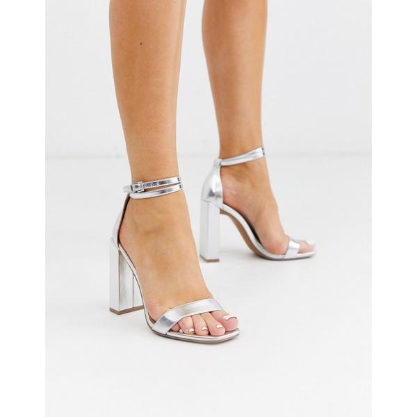 エイソス レディース ヒール シューズ ASOS DESIGN Notice barely there heeled sandals in silver Silver