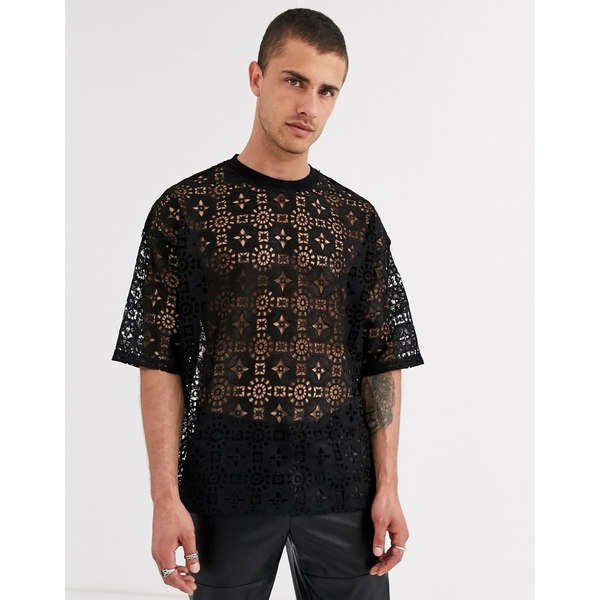 エイソス メンズ Tシャツ トップス ASOS DESIGN festival oversized t-shirt with half sleeve in black lace Black