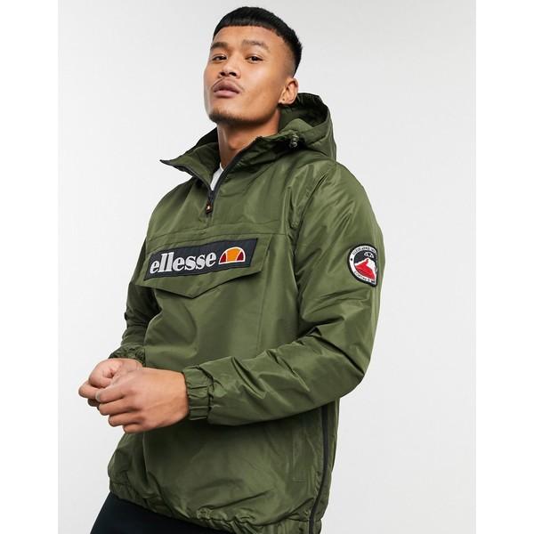エレッセ メンズ ジャケット&ブルゾン アウター ellesse Monterini padded 1/4 zip jacket in khaki Khaki